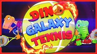 Prepare for a tennis game set in space with dinosaurs defending their planets against asteroids!