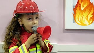 Ulya Pretend Play in Firefighters and Fire Station Ride on POWER WHEELS Car as Fireman Sam