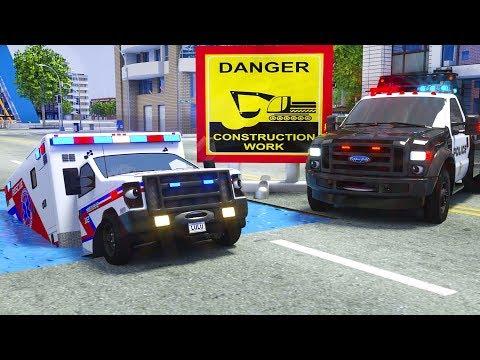 Ambulance Tyre Stuck in Water - Wrecker Truck Police Car Help Him - Wheel City Heroes (WCH) Cartoon