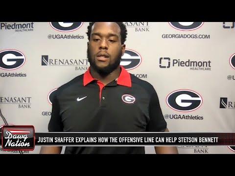 Georgia OL Justin Shaffer Explains How The Offensive Line Can Help Stetson Bennett