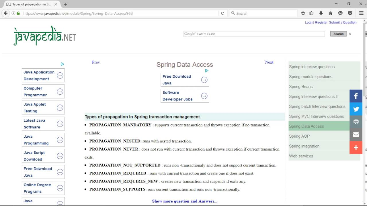 Types of propagation in Spring transaction management