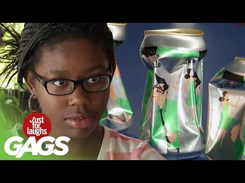 Girl Uses Powers to Crush Cans Prank