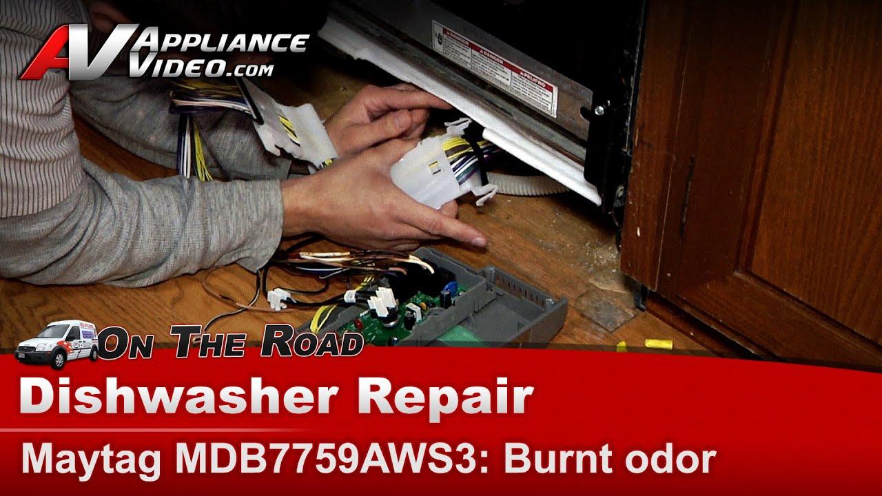Maytag Whirlpool Dishwasher burnt wireing harness on main control – Dishwasher Wiring Harness
