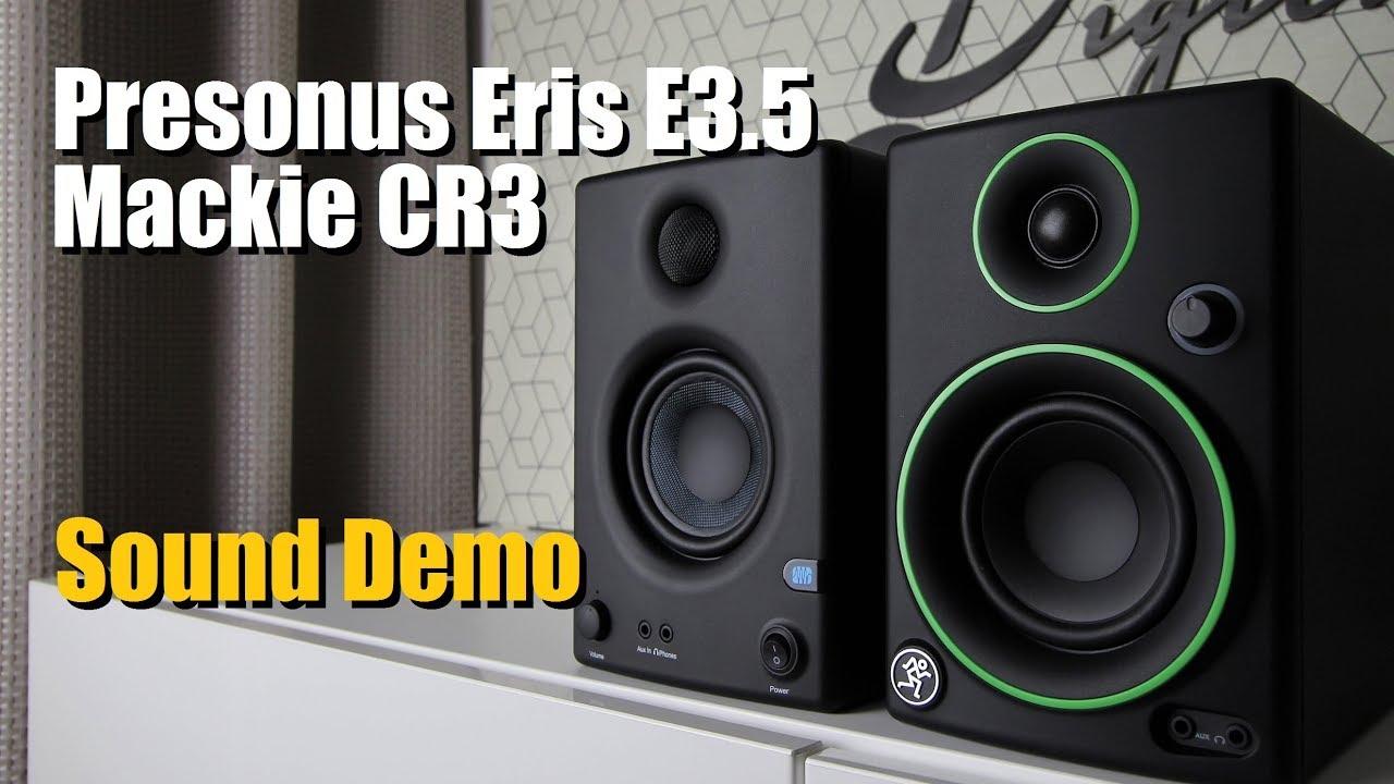 Presonus Eris E3.5 vs Mackie CR3      Sound Demo w/ Bass Test