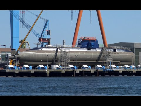 4K | Dolphin Class Hydrogen Fuel Cell Submarine at German Naval Yard Kiel