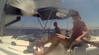 Lagoon 440 Beaufort Force 7 sailing 02 08 13 in Greece