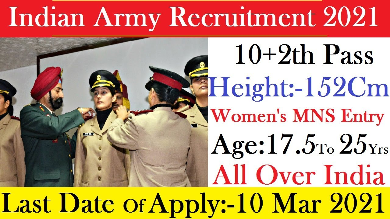 Indian Army Recruitment 2021 | 10+2th Pass |All Over India MNS Women's Entry Last Date:- 10 Mar 2021