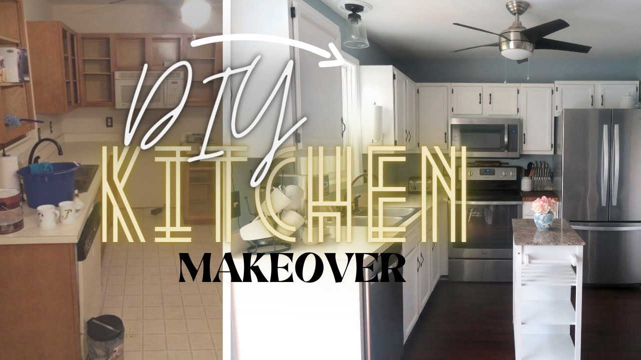 Diy Small Kitchen Makeover On A Budget Youtube