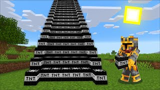 Minecraft DON'T TOUCH THE EXTREME TNT STAIRS WITH EXPLOSIVES MOD / SURVIVAL VILLAGE ! Minecraft Mods