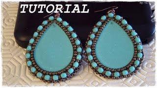 """Tutorial Embroidery: Orecchini """"Gipsy"""" come lavorare e rifinire un cabochon #2 (Embroidery Earrings)"""