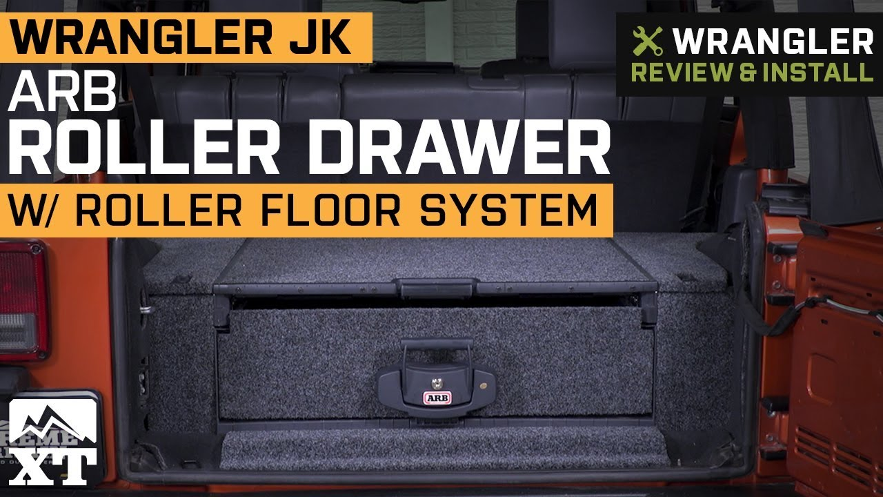 small resolution of arb jeep wrangler roller drawer w roller floor system 5012010 07 18 jeep wrangler jk 4 door w plastic trim sub woofer