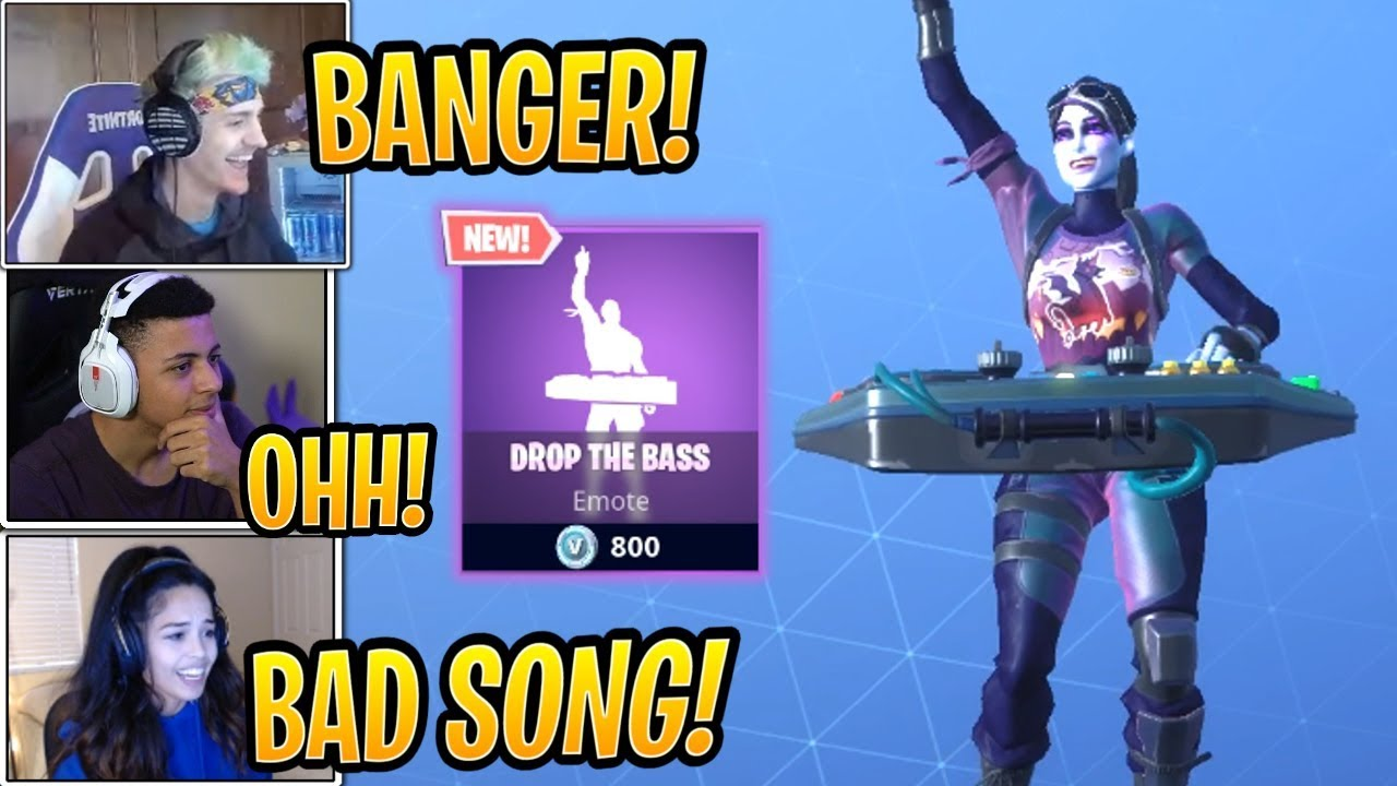 ninja and streamers react to new drop the bass emote fortnite best and funny moments - drop the bass fortnite emote