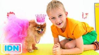Nikita dan Mama bermain salon hewan peliharaan dan berdandan mainan