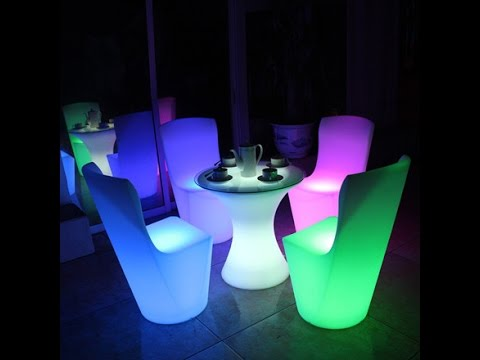 Led Table And Chairs Reclining Deck Chair Asda Wireless Charging Dining Waterproof Cocktail