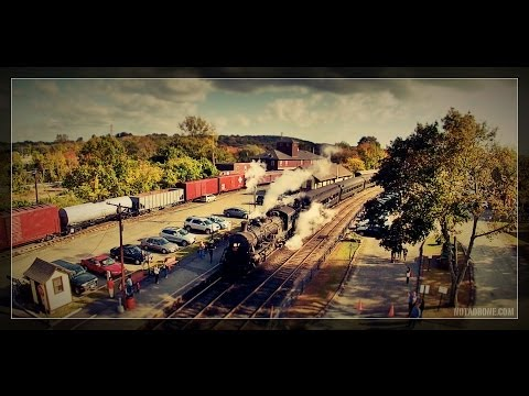 Essex Steam Train and Riverboat, Connecticut River Valley, Connecticut Aerial Photography & Video
