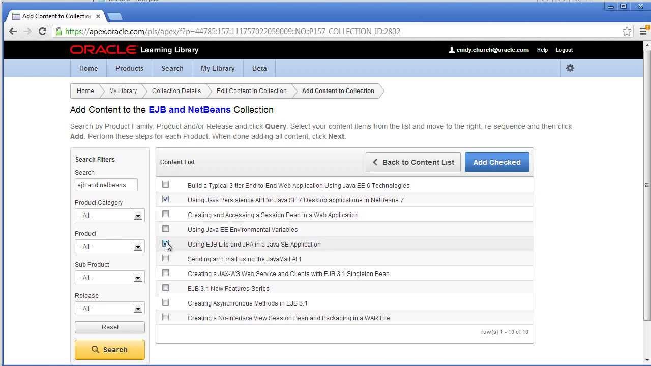 Create Your Own Collections in the Oracle Learning Library