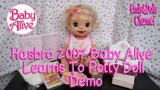 Hasbro 2007 Baby Alive Learns To Potty Doll Demo