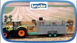 Viehtransportanhänger mit 1 Kuh -- 02227 -- Bruder Spielwaren