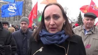 Наталья Пелевина на митинге дальнобойщиков