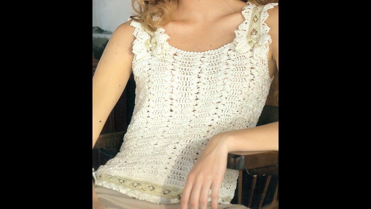Patrón Para tejer Blusa Con Entredós a Crochet - YouTube