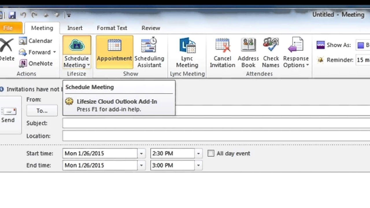 Scheduling a Lifesize Cloud Meeting from Microsoft® Outlook®