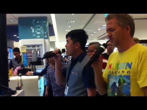 SHOCKING VOICE!!! - Filipino Sales Boy Sings with American Missionary