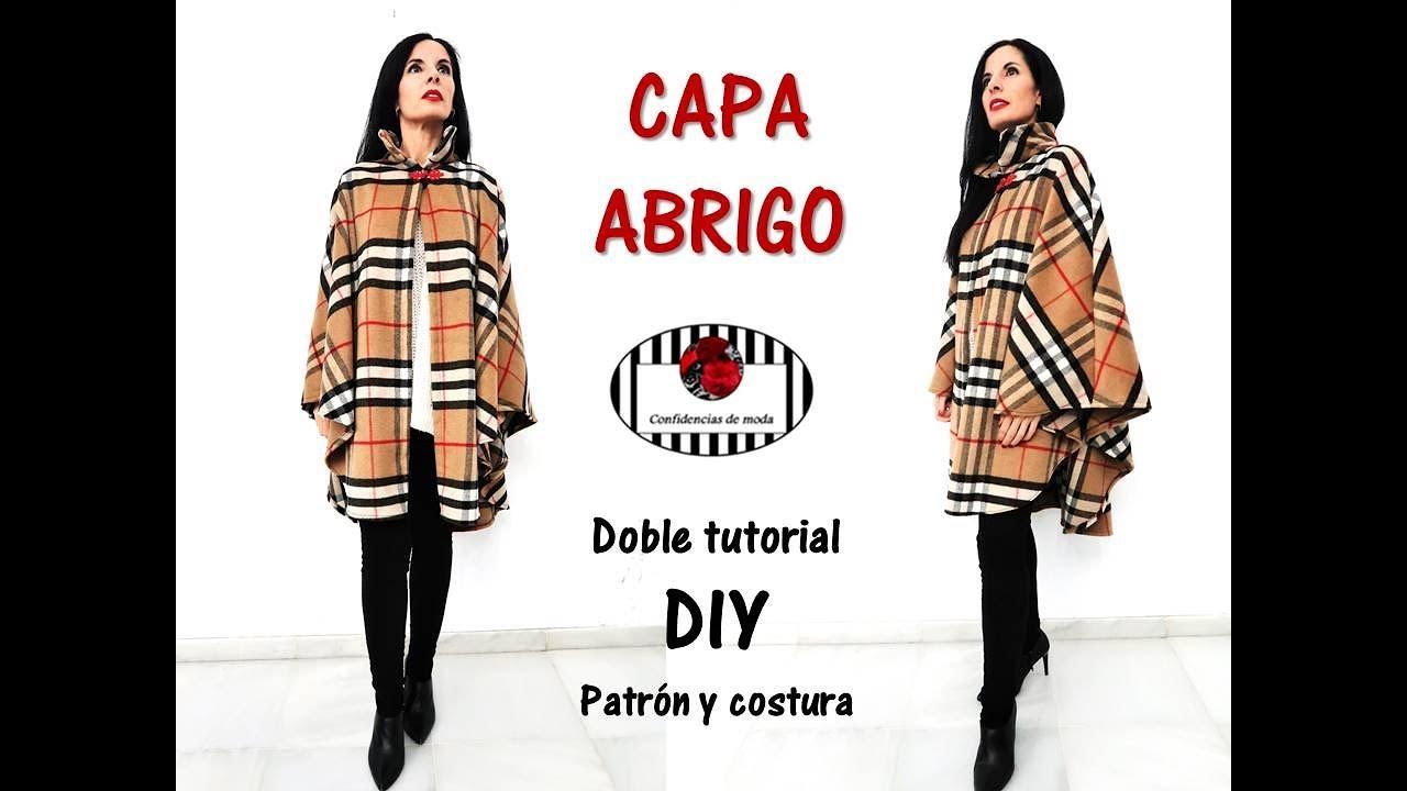 DIY. Cómo hacer una capa abrigo con cuello alto. Patrón y costura ...