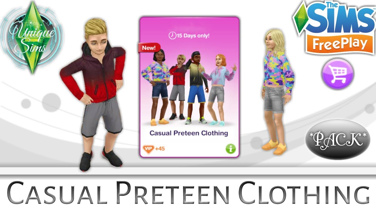 The Sims Freeplay Casual Preteen Clothing Outfits Online Store Packs Youtube