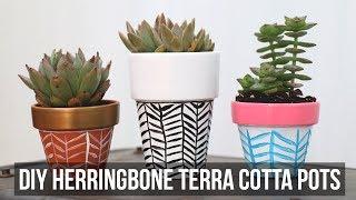 Diy Herringbone Terra Cotta Pots | Cathydiep