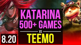 KATARINA vs TEEMO (TOP) | 500+ games, Legendary, KDA 15/3/3 | NA Master | v8.20