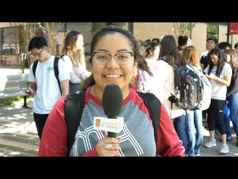 Student holding microphone on campus of University of St. Thomas in Houston, Texas  (part 1)