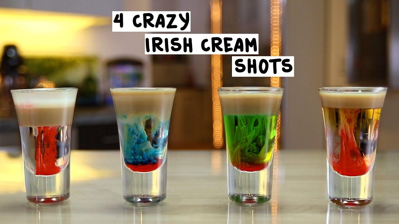 four crazy irish cream shots