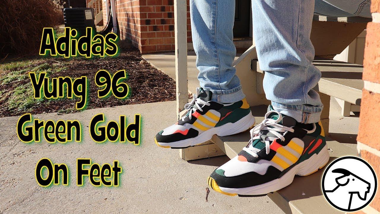 Adidas Yung 96 Green Gold On Feet - YouTube