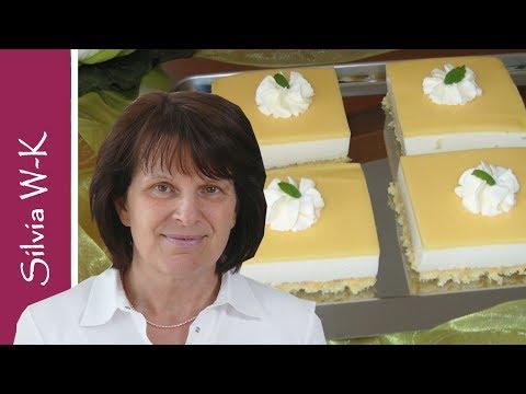 Buttermilchschnitte - Blechkuchen - Cremeschnitte lecker, leicht, fruchtig