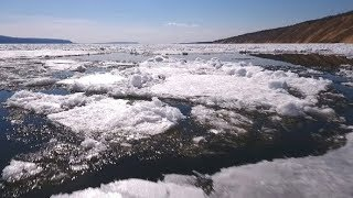 Aerial View on Beautiful Winter Landscape in the River, the River Was Put in Ice | Stock Footage -