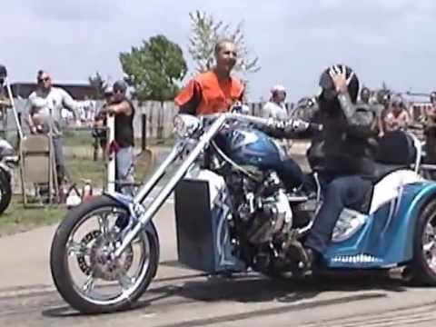 Smokin V8 Chopper Trike Blown 427 Wild Burnouts at Hog Wild Rodeo Conesville