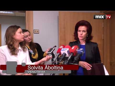"""Partijas """"Vienotība"""" Solvitas Āboltiņas preses brīfings pēc tikšanās ar Māri Kučinski (ZZS)"""