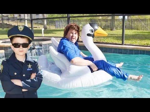 The Sketchy Pool Repair Guy Falls in the pool hilarious video for kids