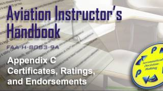 aviation instructors handbook appendix c certificates ratings and endorsements audio