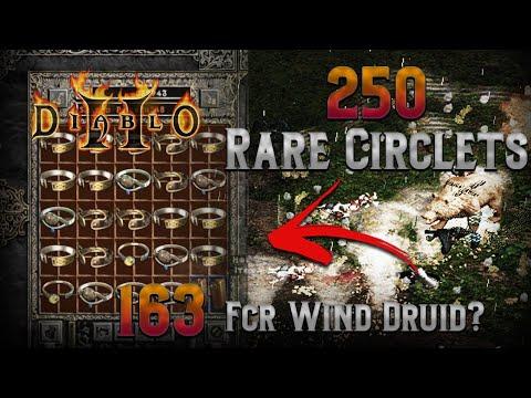 250 Unidentified Rare Circlets!!! Diablo 2 - Incoming 163 fcr wind druid....?