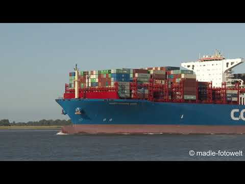 COSCO Shipping Virgo uncut footage - passing Lühe/Elbe/Germany - 4K/UHD