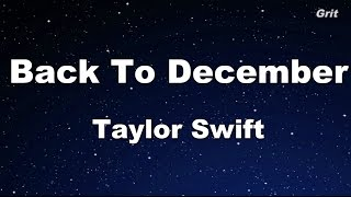 Back To December - Taylor Swift Karaoke【Guide Melody】