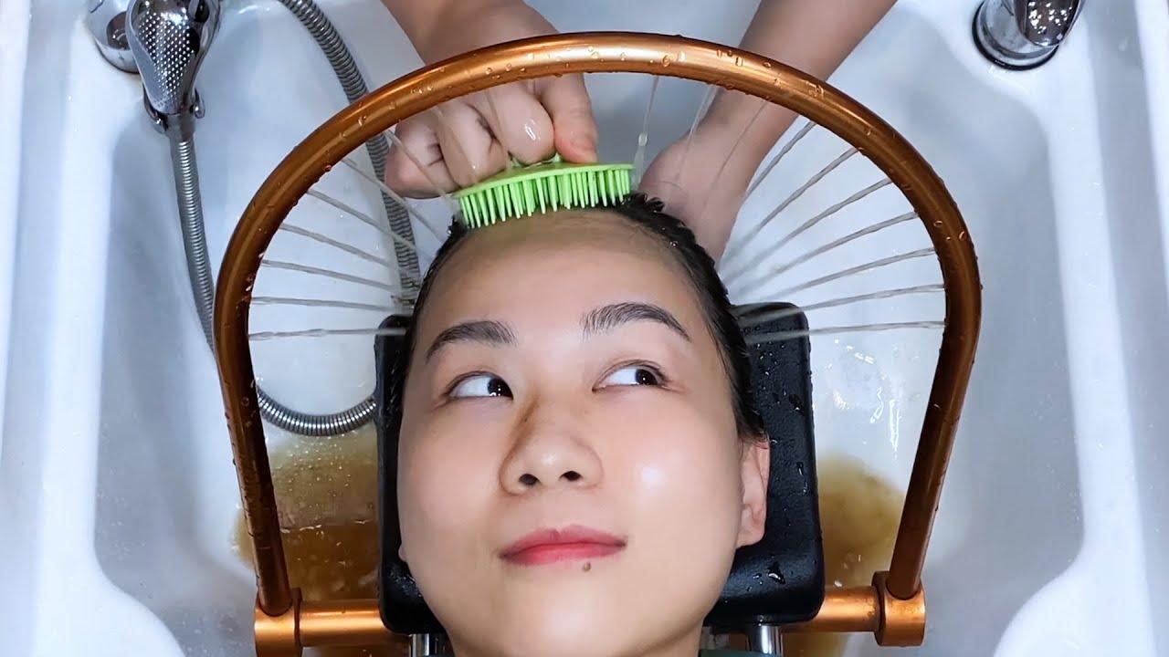 ASMR 중국 고법 쌀뜨물 헤어스파, 야오족 건강한 머릿결의 비법