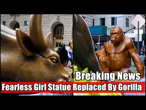 Statue of Harambe appears on Wall Street across from Charging Bull sculpture