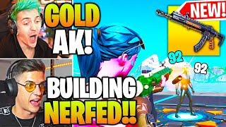 STREAMERS USE *NEW* HEAVY AR (GOLD AK-47) & BUILDING *NERFED* in Fortnite!