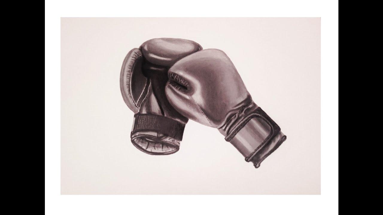 Dessiner des gants de boxe r aliste speed drawing - Gant de boxe dessin ...