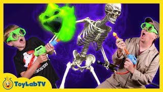 Life Size T-Rex Dinosaur Ghost Hunting! Haunted House Jurassic Adventure with Family Fun Kids Toys