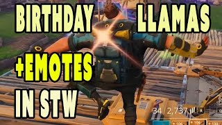 Birthday Llamas and EMOTES in Fortnite Save the World | Free Llama and loot list