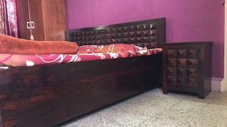 Wooden bed with hydraulic. Diamond design by Rightwood furniture