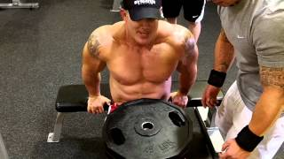 Andy Haman DYMATIZE Superset Preacher Curl and Bench Dips NAKED!